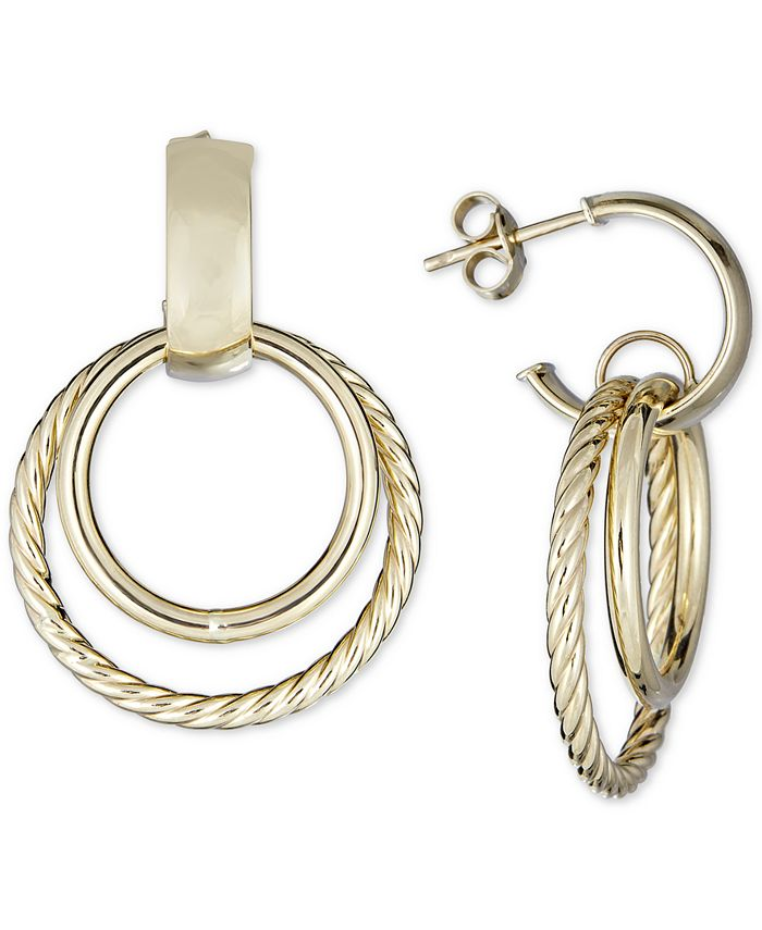Italian Gold - Circular Drop Earrings in 14k Gold