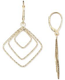 Square Drop Earrings in 14k Gold