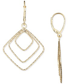 Italian Gold Square Drop Earrings in 14k Gold