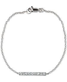Cubic Zirconia Bar Link Bracelet in Sterling Silver, Created for Macy's