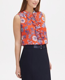 Tommy Hilfiger Floral-Print Ruffle-Trim Top, Created for Macy's