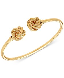 Italian Gold Love Knot Bangle Bracelet in 14k Gold