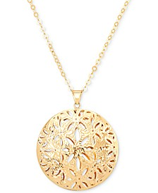 "Floral 18"" Pendant Necklace in 14k Gold"