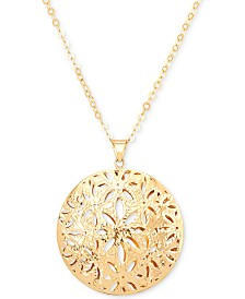 "Italian Gold Floral 18"" Pendant Necklace in 14k Gold"