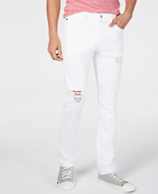 Calvin Klein Jeans Men's Slim-Fit Ripped White Jeans