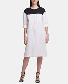 DKNY Colorblocked Button-Front Dress