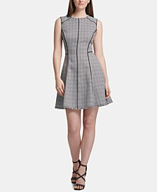 Piped-Trim Fit & Flare Dress