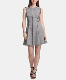DKNY Piped-Trim Fit & Flare Dress