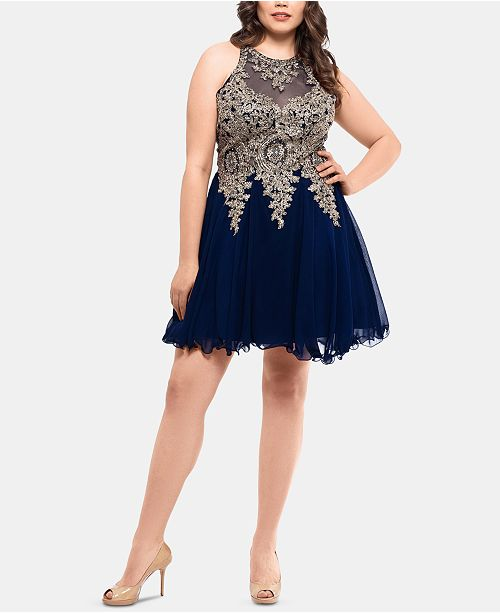 XSCAPE Plus Size Embroidered Fit & Flare Dress