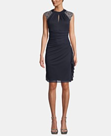 B&A by Betsy & Adam Embellished Cap-Sleeve Sheath Dress