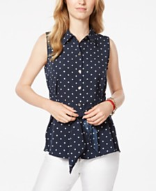 Tommy Hilfiger Printed Front-Tie Sleeveless Top, Created for Macy's