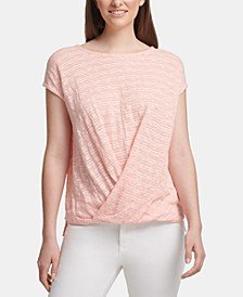 Twist-Front Short-Sleeve Top