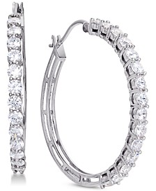 Cubic Zirconia Hoop Earrings in Sterling Silver, Created for Macy's
