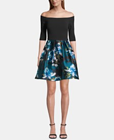 Betsy & Adam Off-The-Shoulder Floral-Skirt Dress