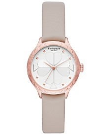 kate spade new york Women's Rosebank Gray Leather Strap Watch 32mm