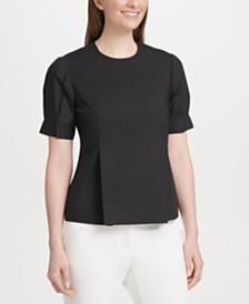 DKNY Cotton Puff-Sleeve Peplum Blouse