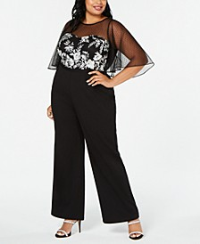 Plus Size Embroidered Illusion Jumpsuit