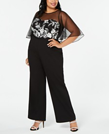 Adrianna Papell Plus Size Embroidered Illusion Jumpsuit