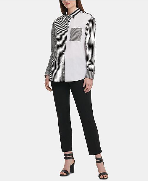 DKNY Colorblocked Striped Shirt