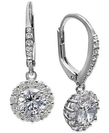 Giani Bernini Cubic Zirconia Halo Drop Earrings in Sterling Silver, Created for Macy's