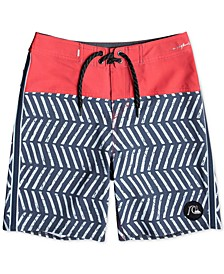 "Big Boys Highline Snapper Performance-Fit Colorblocked Herringbone Stripe-Print 17"" Board Shorts"