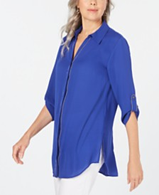 JM Collection Caviar-Trim Button-Up Top, Created for Macy's