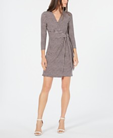 Anne Klein Printed 3/4-Sleeve Faux-Wrap Dress