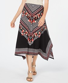 JM Collection Printed Handkerchief-Hem Skirt, Created for Macy's