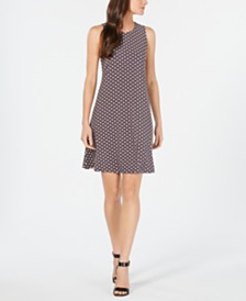 Anne Klein Dot-Print Fit & Flare Dress