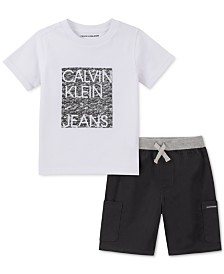 Calvin Klein Little Boys 2-Pc. Logo T-Shirt & Poplin Shorts Set
