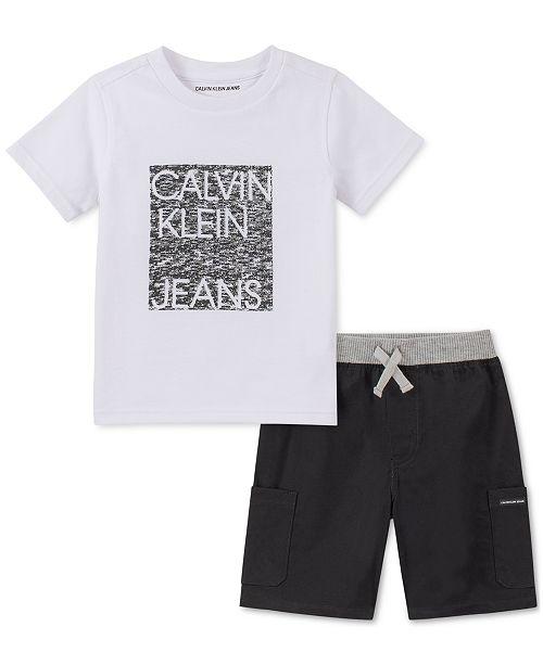 Calvin Klein Toddler Boys 2-Pc. Logo T-Shirt & Poplin Shorts Set