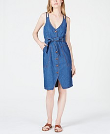 Double-Strap Patch-Pocket Jean Dress