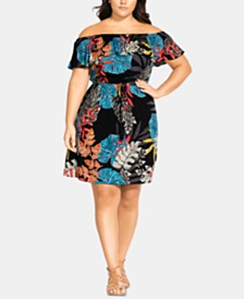 City Chic Trendy Plus Size Tahiti Off-The-Shoulder Dress
