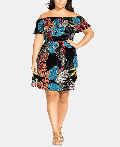 City Chic Trendy Plus Size Tahiti Off-The-Shoulder Dress ...