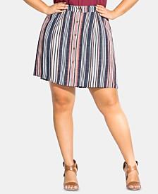 City Chic Plus Size Button-Trim Striped Skirt