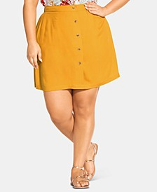 Plus Size Button-Trim Pull-On Skirt