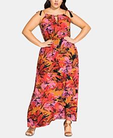Trendy Plus Size Tassel Keyhole Maxi Dress