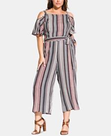 City Chic Trendy Plus Size Striped Cold-Shoulder Jumpsuit
