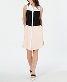 Alfani Colorblocked Shirtdress, Created For Macy's