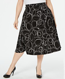 Alfani Plus Size Printed Midi Skirt, Created for Macy's