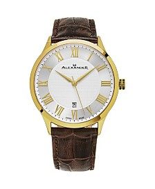 Alexander Watch A103-07, Stainless Steel Yellow Gold Tone Case on Brown Embossed Genuine Leather Strap