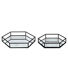 Kate and Laurel Felicia Nesting Metal Mirrored Decorative Trays, 2 Piece