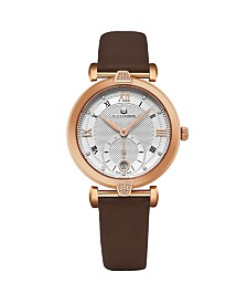 Alexander Watch AD202-04, Ladies Quartz Small-Second Date Watch with Rose Gold Tone Stainless Steel Case on Brown Satin Strap