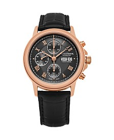 Alexander Watch A473-03, Stainless Steel Rose Tone Case on Black Alligator Embossed Genuine Leather Strap