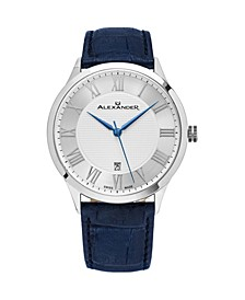 Alexander Watch A103-09, Stainless Steel Case on Blue Embossed Genuine Leather Strap