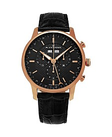 Alexander Watch A101-04, Stainless Steel Rose Gold Tone Case on Black Embossed Genuine Leather Strap