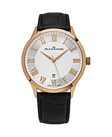 Alexander Watch A103-04, Stainless Steel Rose Gold Tone Case on Black Embossed Genuine Leather Strap