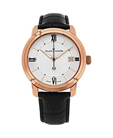 Alexander Watch A111-06, Stainless Steel Rose Gold Tone Case on Black Embossed Genuine Leather Strap