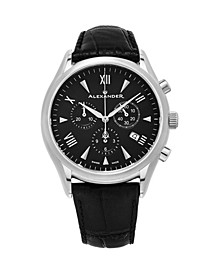 Alexander Watch A021-01, Stainless Steel Case on Black Embossed Genuine Leather Strap