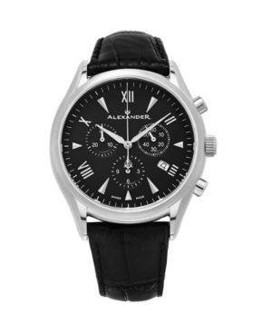 Image of Alexander Watch A021-01, Stainless Steel Case on Black Embossed Genuine Leather Strap